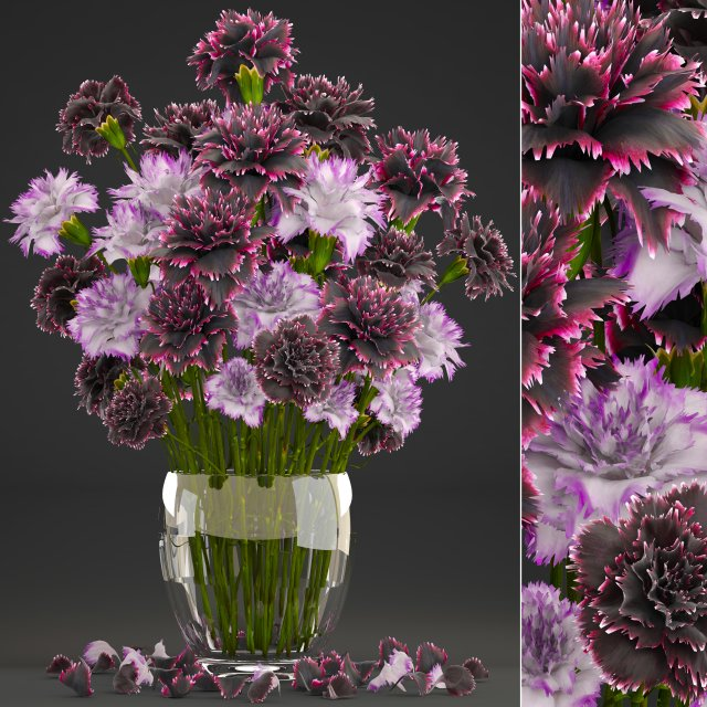 Bouquet of flowers Dianthus 3D Model