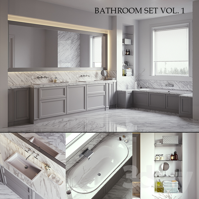 L'ORIGINE Aeterna Bathroom set (vray GGX, corona PBR)                                      3D Model