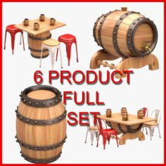 Beer Barrel Furniture Set 6 Product 3D Model