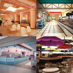 Cafe Interior Set 01 3D Model