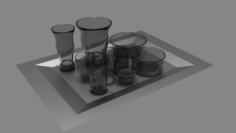 Glass Cups Vases and Bowls 3D Model