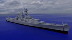 USS Alaska CB-1 Battle Cruiser 3D Model