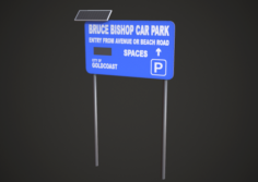 Car Park Stand Low Poly 3D Model