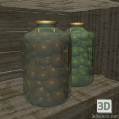 3D-Model  Bottle with tomatoes