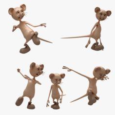 Cartoon Mouse 01-02 10 POSE 3D Model