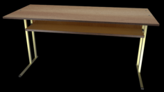 Wooden School Desk 3D Model