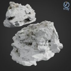 3d scanned rock cliff D Snow 3D Model