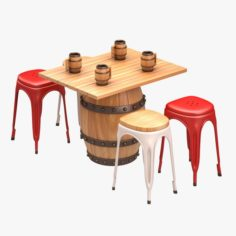 Barrel Bar Set 3D Model