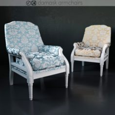 Damask armchairs 3D Model
