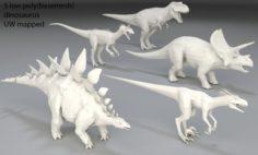 Dinosaur-5 peaces-low poly-part 4 3D Model