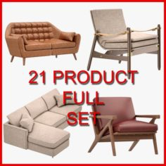 Armchair and Sofa Set 03 21 Product 3D Model