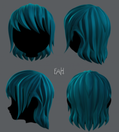 3D Hair style for girl V09 3D Model