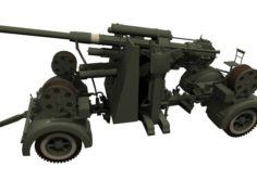 FlaK 88mm with limbers 3D Model
