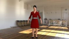 Guest Female Low poly game ready model 3D Model
