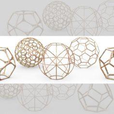 Geometric Decor Objects – Sphere Frames 3D Model