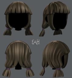 3D Hair style for girl V14 3D Model