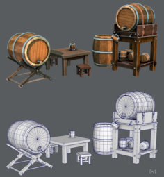 3D Barrel Lowpolygon V01 3D Model