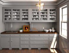 Grey wood Classic pantry Kitchen interior dinnerware porcelain 3D Model