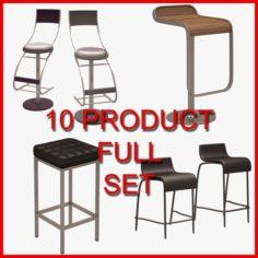 Bar Chair Set 10 Product 3D Model