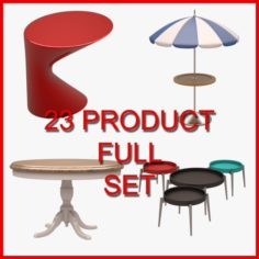 Table and Coffee Table Set 01 23 Product 3D Model