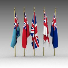 British Flags 3D Model
