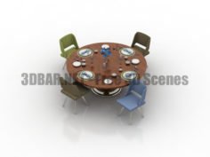 Dining Set Table and chairs dishes 3D Collection