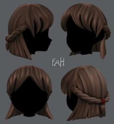 3D Hair style for girl V10 3D Model