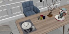 Modern home table chair 3D Model