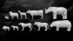 Pack of 3D Printable Low Poly Animals 3D Model