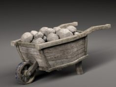 Old cart and stones 3D Model
