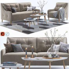 Pohjanmaan Jenson armchair and sofa 2 3D Model