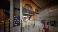 Cinema theatre lobby entrance industrial style commercial space 3D Model