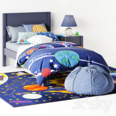 bed Uptown Navy Blue Bed from Crate & Barrel curbstone Kids Uptown Navy Blue Nightstand                                      3D Model