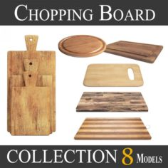 3D Wooden Cutting Board Collection – Set of 8 Different Models model 3D Model