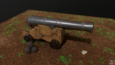 British Naval Cannon 3D Model