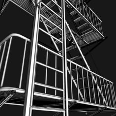 Emergency Stairs Fire Escape 3D Model