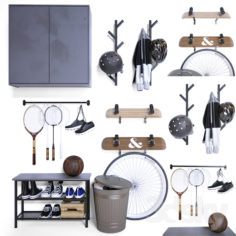 Storage of sports equipment in the hallway                                      3D Model