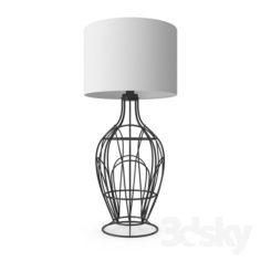94608 Table lamp FAGONA 1х60W (E27), Ø355, steel, black / textile, beige                                      Free 3D Model