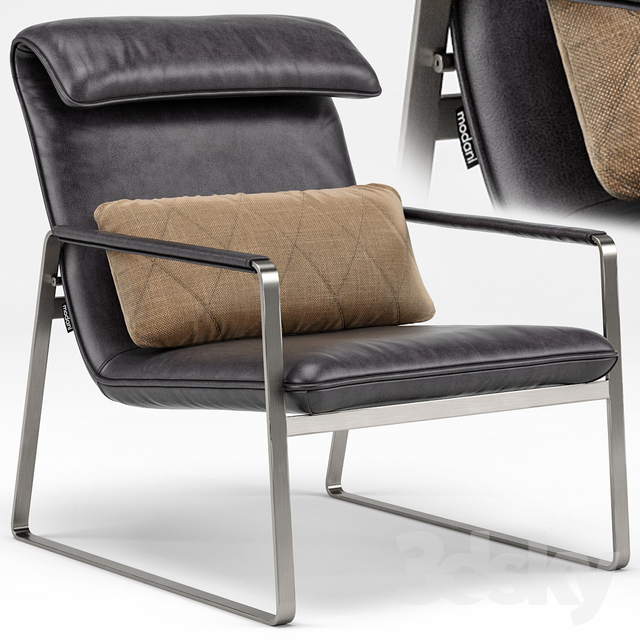 Marvelous Industrial Chic Emilio Brown Leather Lounge Chair 3D Model Onthecornerstone Fun Painted Chair Ideas Images Onthecornerstoneorg