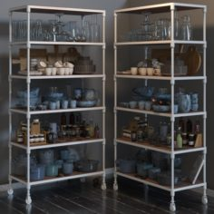 RH DUTCH INDUSTRIAL SINGLE SHELVING and kitchen set 3D Model