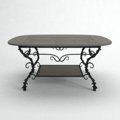Black iron table with glass 3D Model