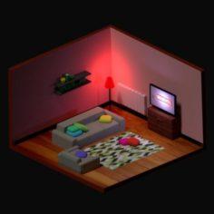 Low polygonal room 2 3D Model