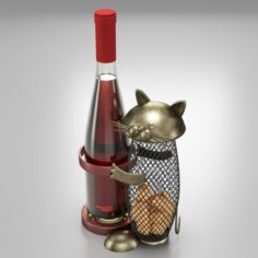 Wine Holder With Cat 3D Model