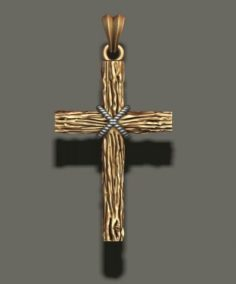 Cross pendant with wood texture 3D Model