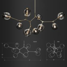 Branching bubble 9 lamps 1 by Lindsey Adelman DARK GOLD 3D Model