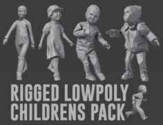Rigged Lowpoly Childrens Pack 3D Model