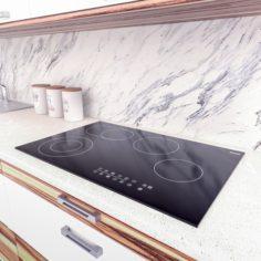 Black Electric Ceramic Hob – LOW POLY 3D Model