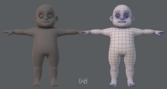 Base mesh fat boy character 3D Model
