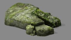 Covered with moss – stone 01 3D Model