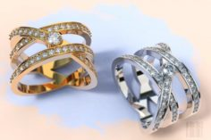 Fashionable women ring with stones 3D Model